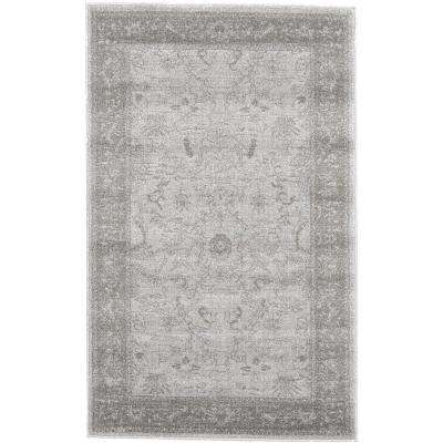 La Jolla Floral Light Gray 3' 3 x 5' 3 Area Rug