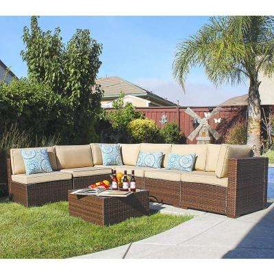 Patiorama 7-Piece Wicker Outdoor Sectional Set with Beige Cushions