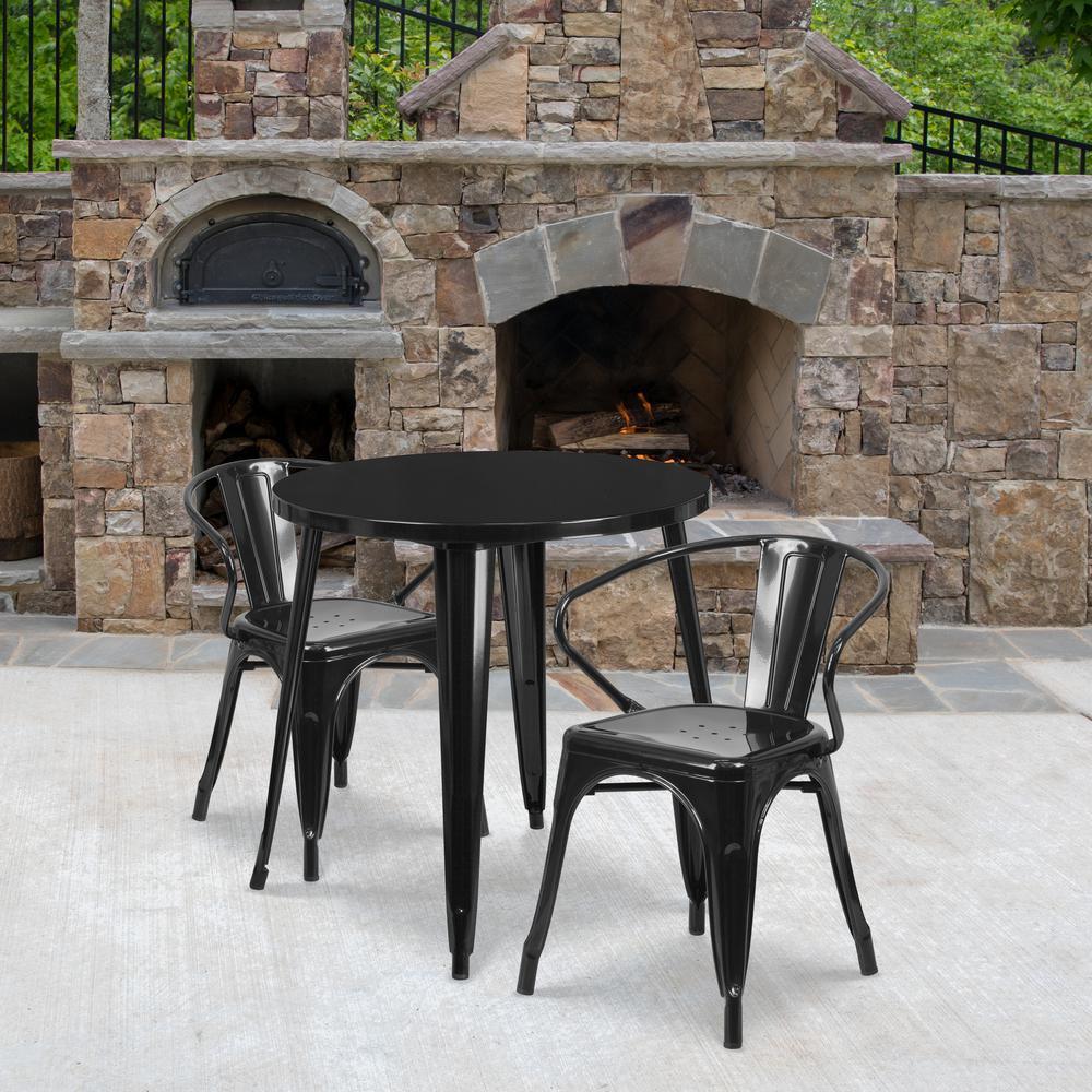 Black 3-Piece Metal Round Outdoor Bistro Set