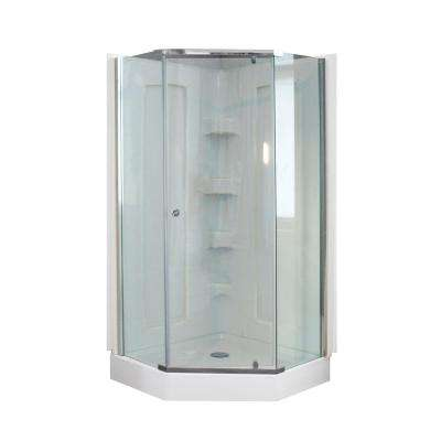 38 in. x 38 in. x 78 in. Neo Angle Mosaic Shower Kit with Polished Chrome Frame