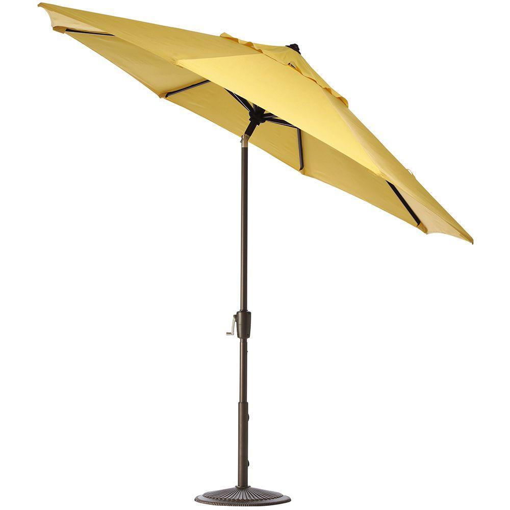 Home Decorators Collection 6 ft. Auto-Tilt Patio Umbrella in Buttercup Sunbrella with Bronze Frame