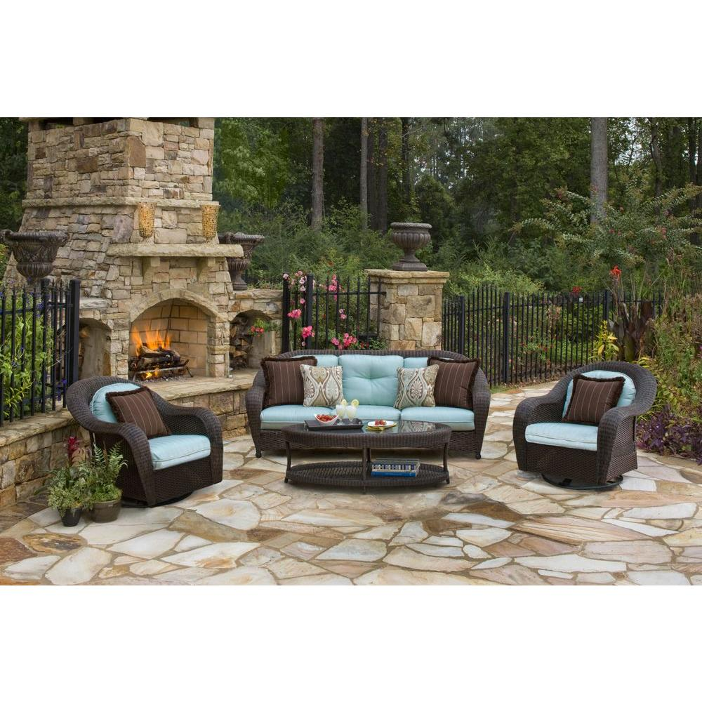 Hampton Bay Nathan 4-Piece Patio Deep Seating Set with Pale Blue Cushions-DISCONTINUED