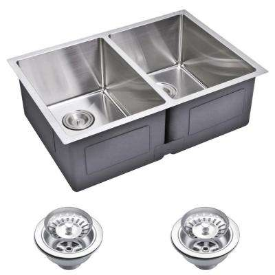 Undermount Small 27 in. 0-Hole Double Bowl Kitchen Sink with Strainer in Premium Scratch Resistant Satin Finish