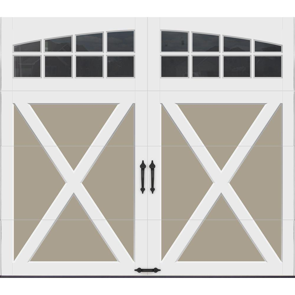 Clopay Coachman Collection 8 ft. x 7 ft. 18.4 R-Value Intellicore Insulated Sandtone Garage Door with Arch Window