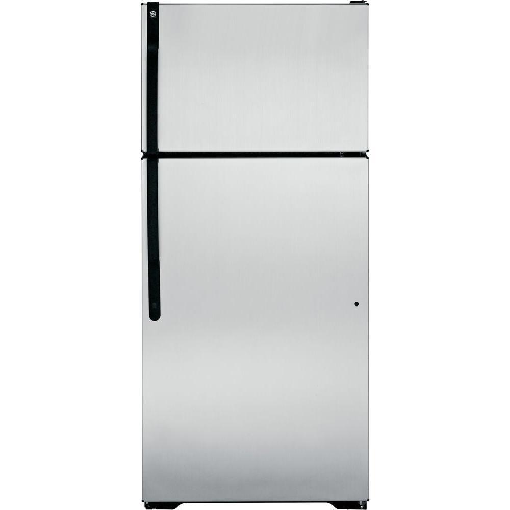 GE 28 in. W 16.5 cu. ft. Top Freezer Refrigerator in CleanSteel