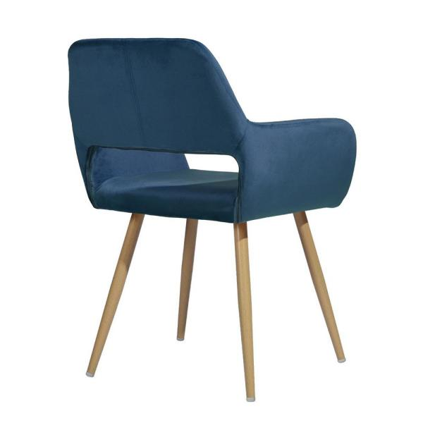Sumyeg Blue Cromwell Velvet Fabric Upholstered Dining Chairs Hollow Design Arm Chair With Solid Wood Legs Cromwell Velvet Blue The Home Depot