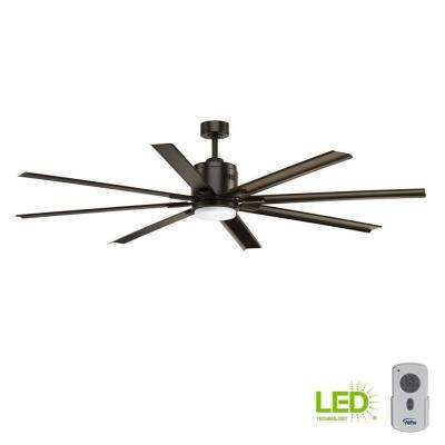 1f74088f4e22 LED Indoor Antique Bronze Industrial Ceiling Fan with Light Kit and
