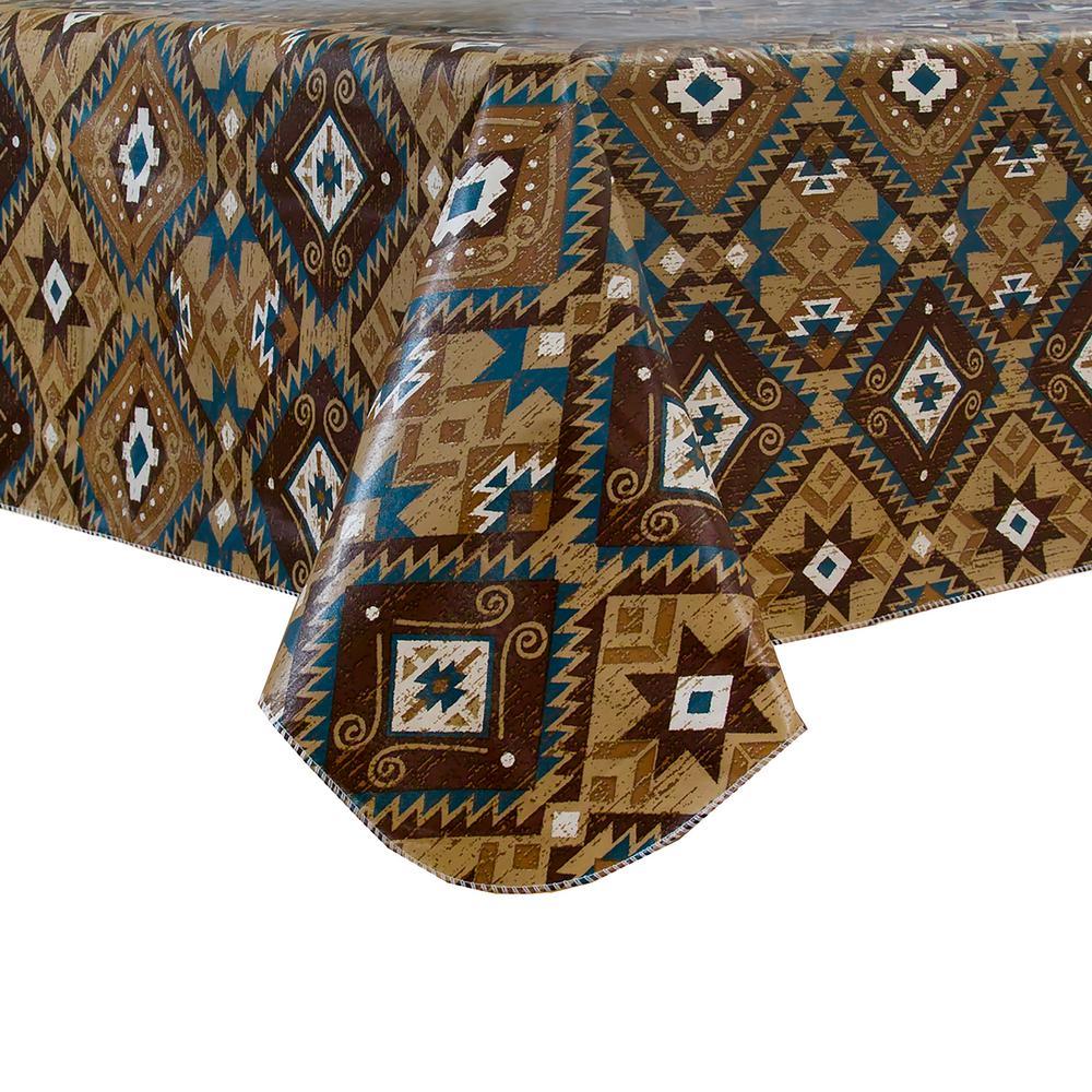 Santa Fe 70 inch Multi Round Single Vinyl Tablecloth with Umbrella Hole by