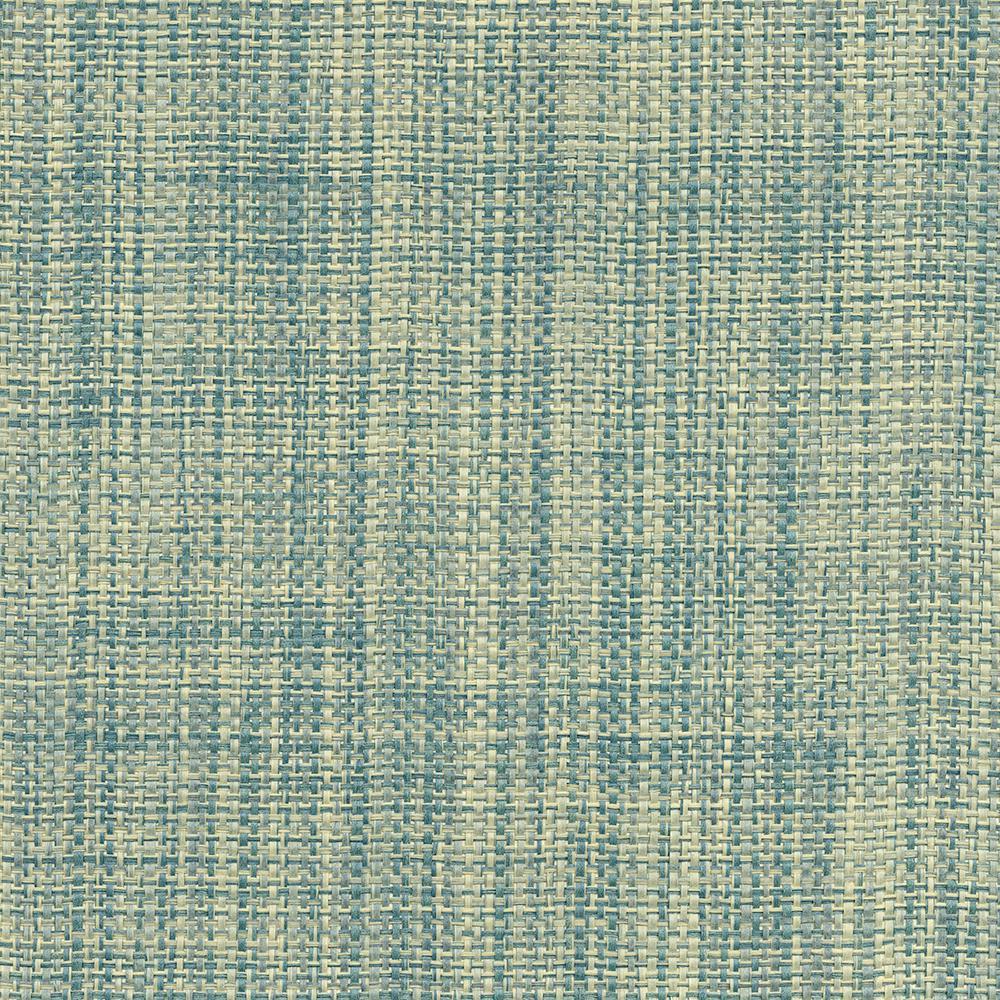 Kenneth James 72 sq. ft. Rizal Teal Raffia Grass Cloth Wallpaper
