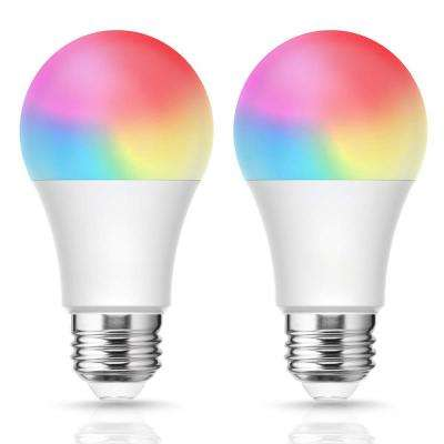 60-Watt Equivalent 8W Dimmable LED Smart Light Bulb E26 Base in RGB & Tunable White (2-Pack)