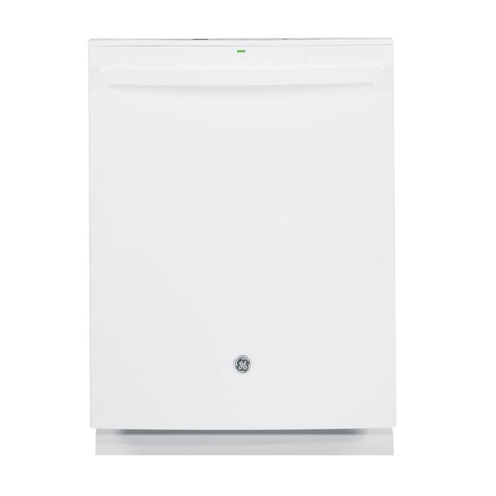 Profile Top Control Dishwasher in White with Stainless Steel Tub and