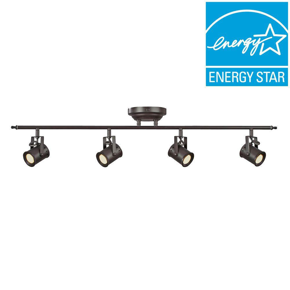 Studio 4 Light Oiled Rubbed Bronze Dimmable Fixed Track Lighting Kit