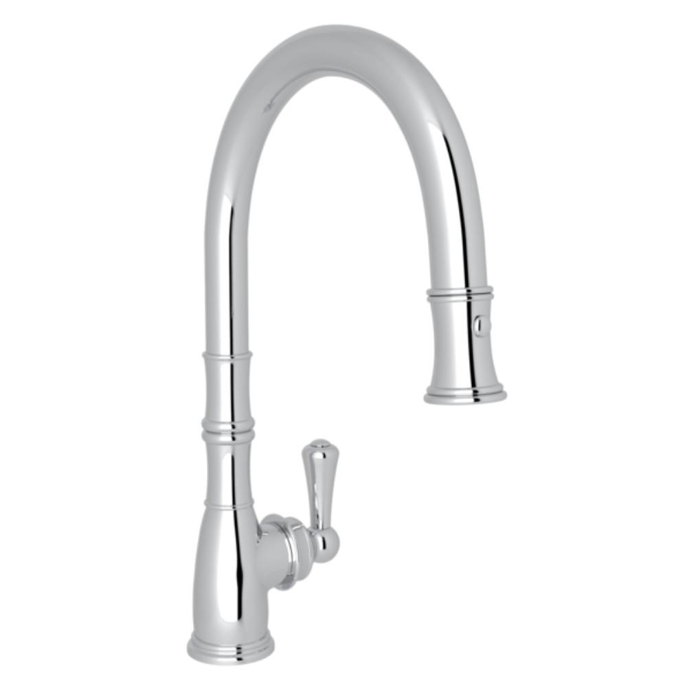 Rohl Perrin And Rowe Single Handle Pull Down Sprayer Kitchen Faucet In Polished Chrome