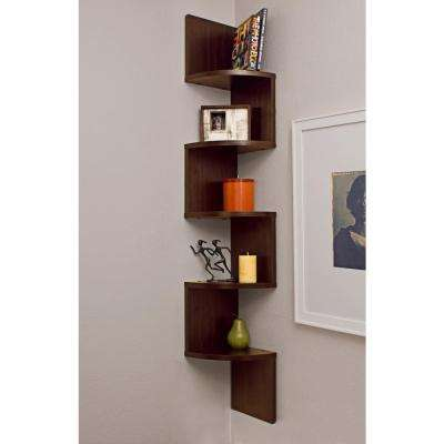 Zig Zag 7.75 in W x 7.75 in. D Floating Laminate Corner Wall Decorative Shelf in Walnut Finish