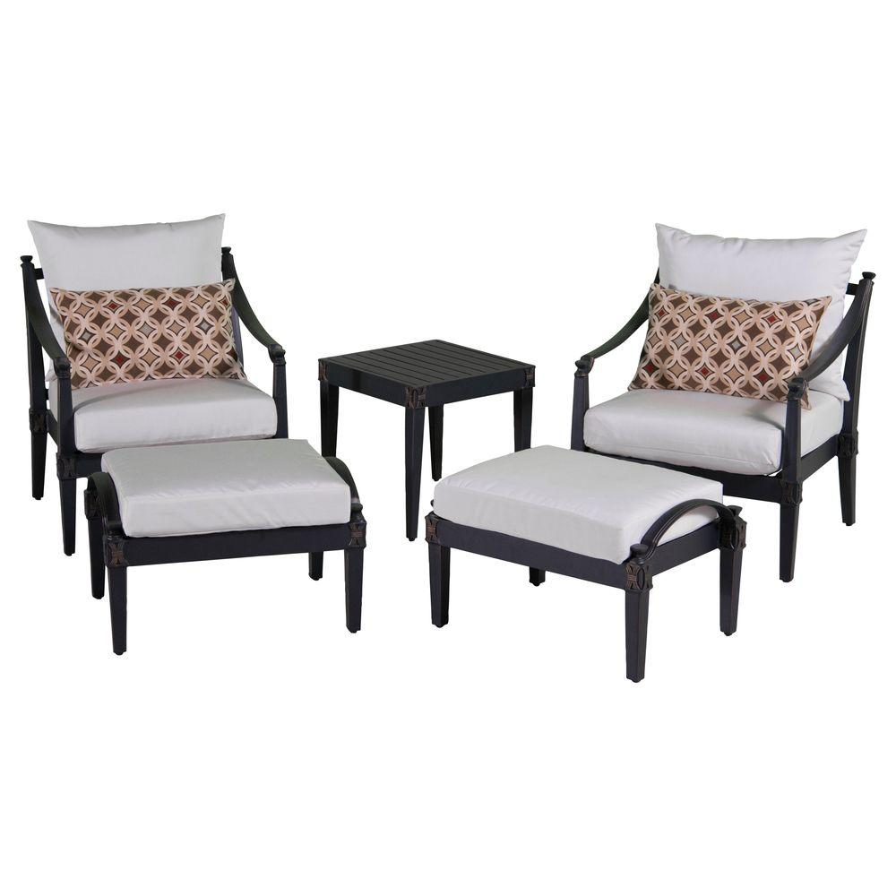 Astoria 5 Piece Patio Club Chair And Ottoman Set With Moroccan Cream Cushions