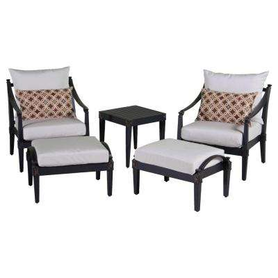 Astoria 5-Piece Patio Club Chair and Ottoman Set with Moroccan Cream Cushions
