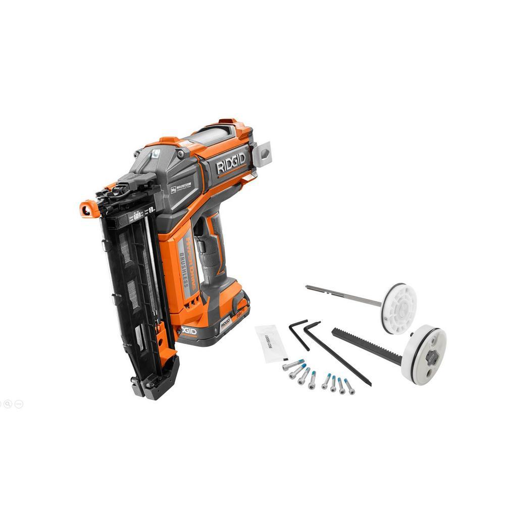 RIDGID 18-Volt 16-Gauge Cordless Brushless 2-1/2 in. Straight Nailer, 2.0 Ah Battery, Charger, Bag and Maintenance Kit