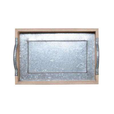 16 in. Wood Tray with Galvanized Bottom