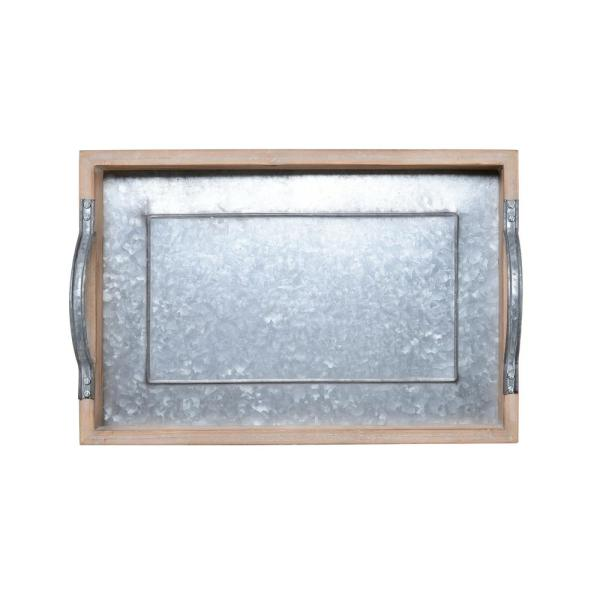 Elements 16 in. Wood Tray with Galvanized Bottom 5230313