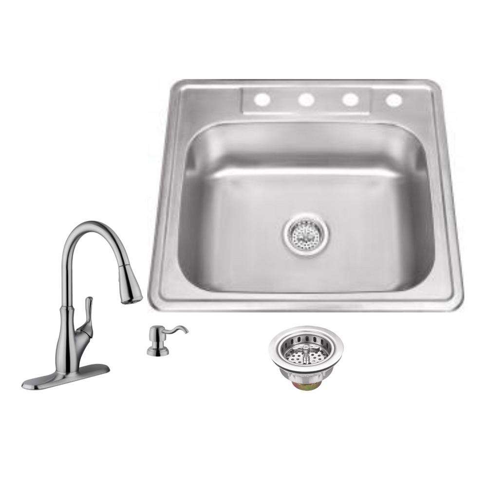 Medium image of ipt sink company drop in 25 in  4 hole stainless steel kitchen sink in brushed stainless with gooseneck faucet iptdp2522p7636   the home depot