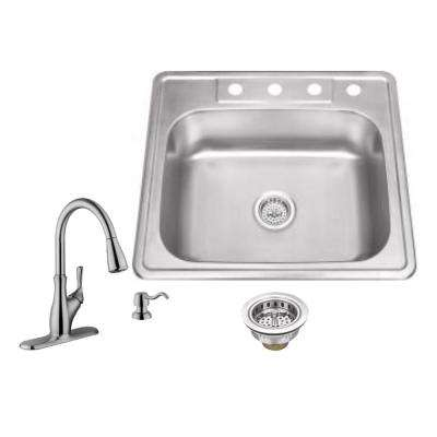 Drop-in 25 in. 4-Hole Stainless Steel Kitchen Sink in Brushed Stainless with Gooseneck Faucet