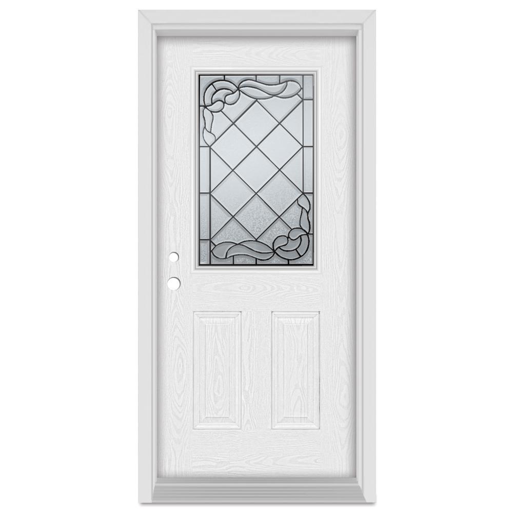 36 in. x 80 in. Art Deco Right-Hand Inswing 1/2 Lite Patina Finished Fiberglass Oak Woodgrain Prehung Front Door