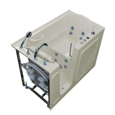 HD Series 53 in. Left Drain Quick Fill Walk-In Whirlpool Bath Tub with Powered Fast Drain in Biscuit