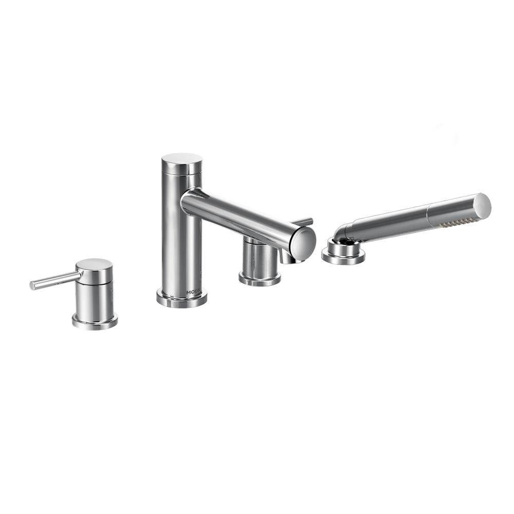 MOEN Align 2-Handle Deck Mount Roman Tub Faucet Trim Kit with Hand shower in Chrome (Valve Not Included)