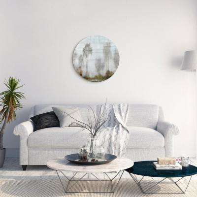 """Subtle Reflection"" Circular Silver Canvas Giclee Printed on 2"" Wood Stretcher Wall Art"