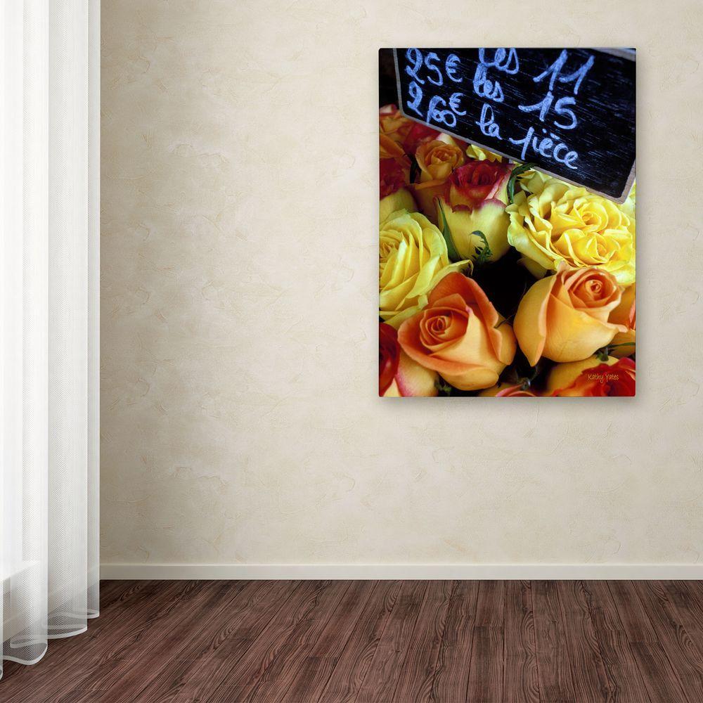 null 19 in. x 14 in. Paris Roses Canvas Art