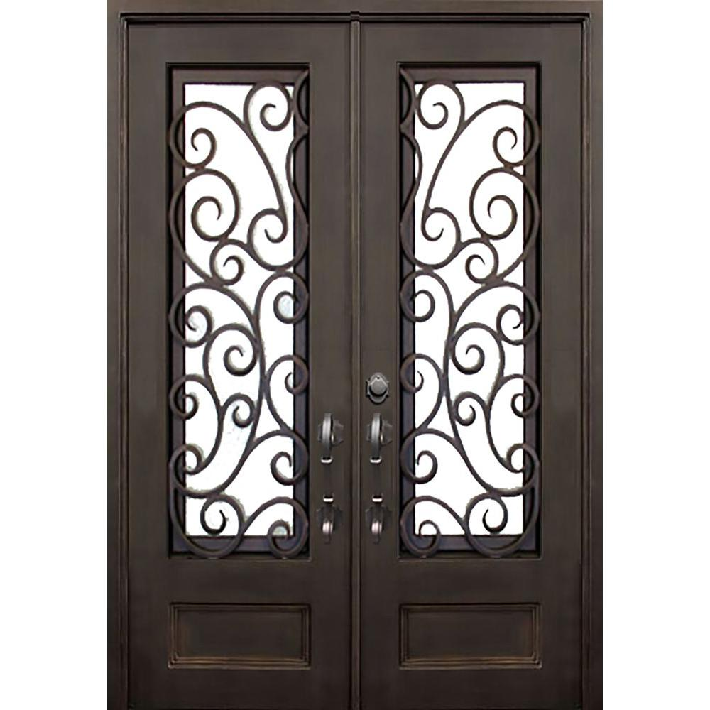 Allure iron doors windows 72 in x 96 in lauderdale for 96 inch exterior french doors