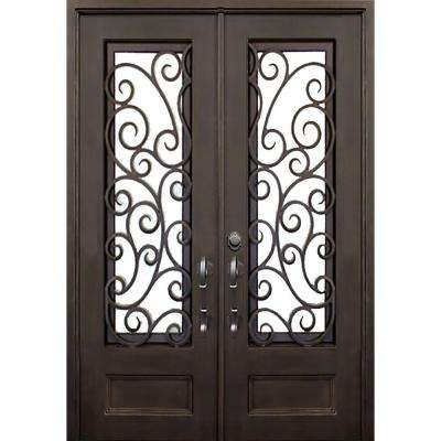 74 in. x 97.5 in. Flat Top Lauderdale Dark Bronze 3/4 Lite Painted Wrought Iron Prehung Front Door (Hardware Included)