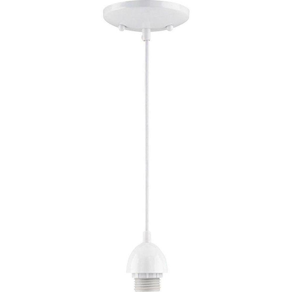 1-Light White Adjustable Mini Pendant