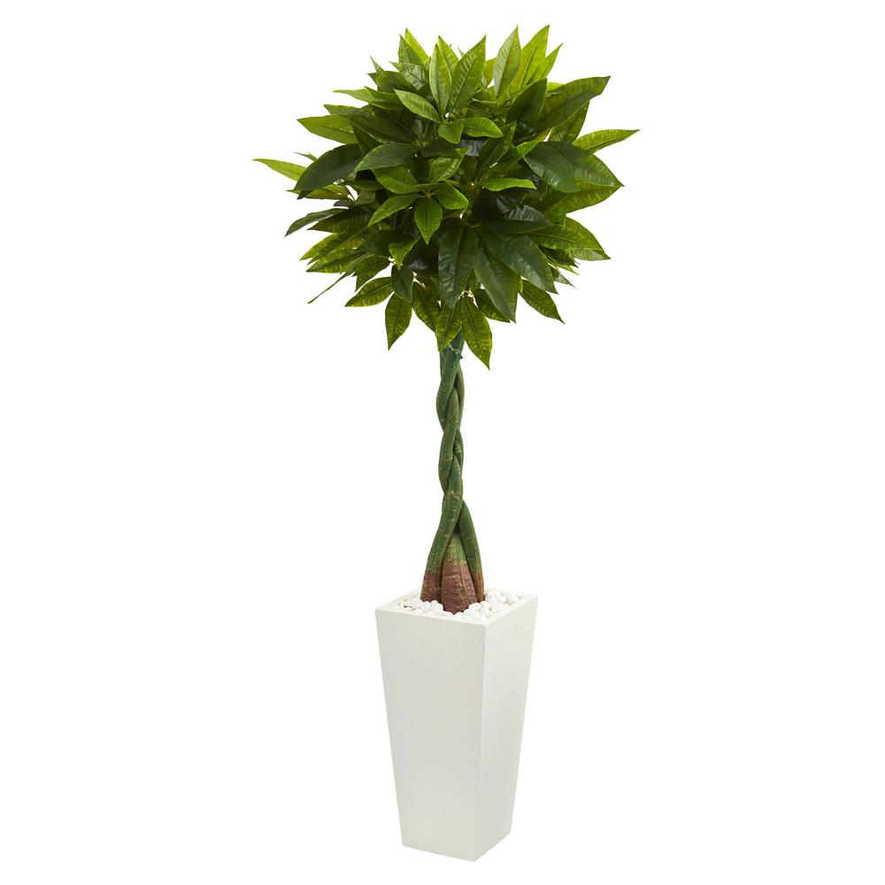 Nearly Natural Real Touch 5.5 ft. High Indoor Money Artificial Tree in White Tower Planter-5737 ...