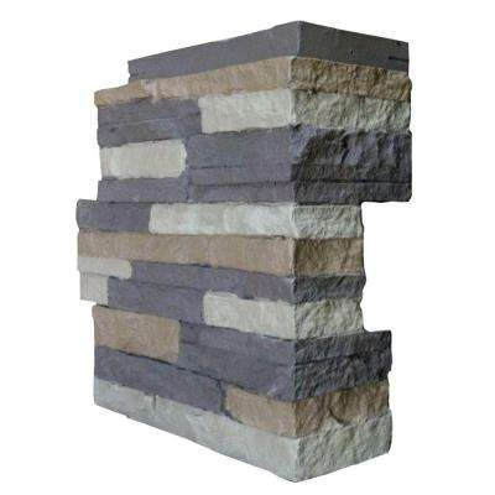 Stacked Stone Carolina Cocoa 4.25 in. x 13.75 in. Faux Stone Siding Corner (4-Pack)