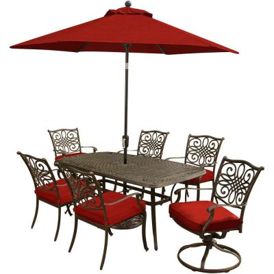 Traditions 7-Piece Aluminum Outdoor Dining Set with Red Cushions
