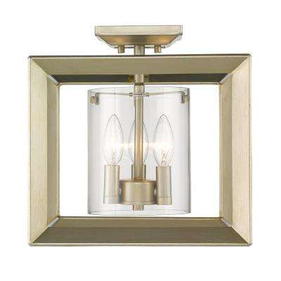 Smyth WG 3-Light White Gold 12 in. Semi-Flushmount with Clear Glass
