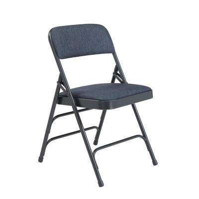 Blue Fabric Padded Seat Stackable Folding Chair (Set of 4)