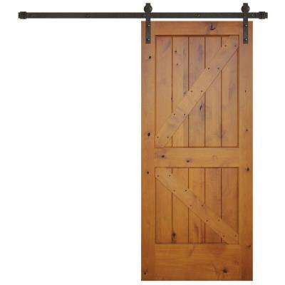 36 in. x 84 in. Rustic Prefinished 2-Panel Left Knotty Alder Wood Barn Door with Bronze Sliding Door Hardware kit