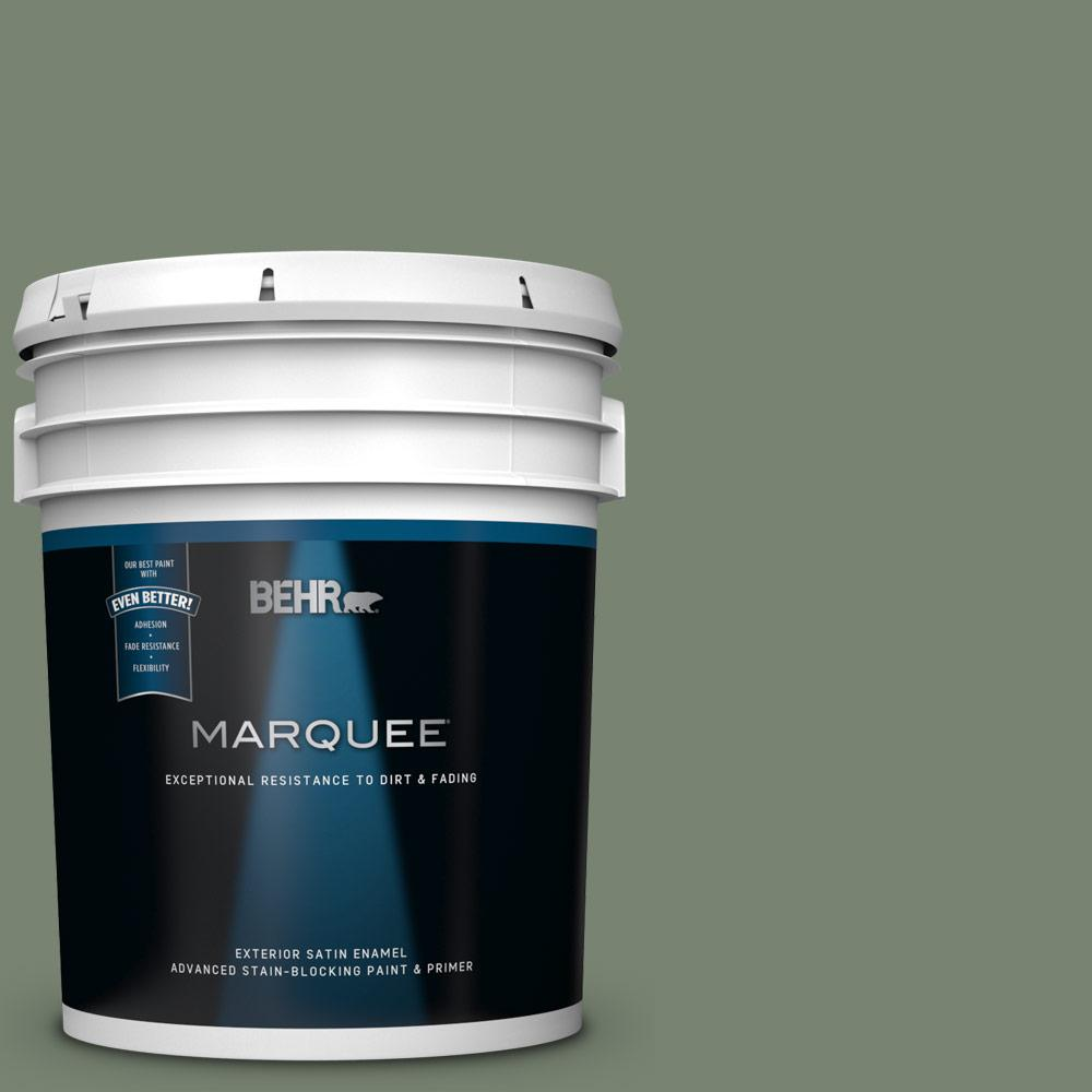 Behr Marquee 5 Gal Icc 77 Sage Green Satin Enamel Exterior Paint And Primer In One