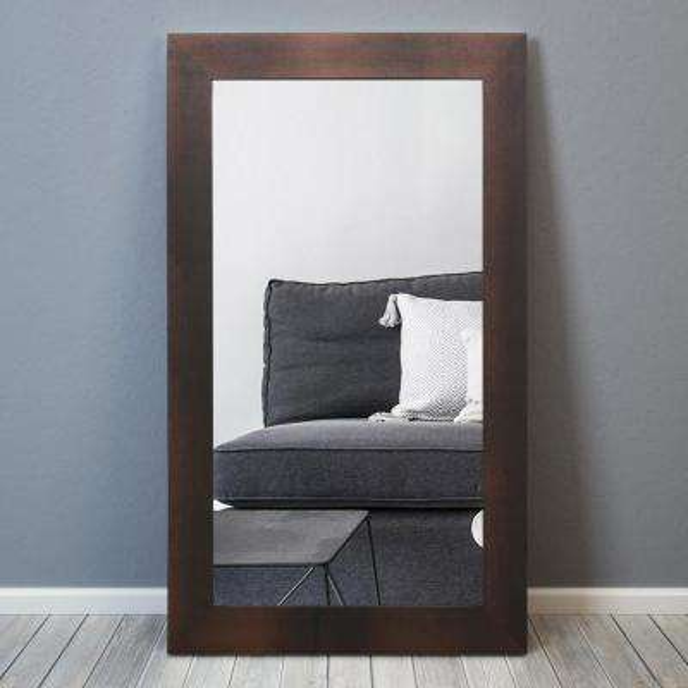 80 in. x 48 in. Black on Bronze Metallic Shagreen Leather Framed Beveled Mirror