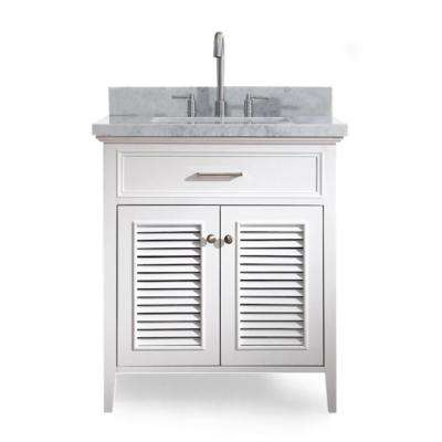 Kensington 31 in. Bath Vanity in White with Marble Vanity Top in Carrara White with White Basin
