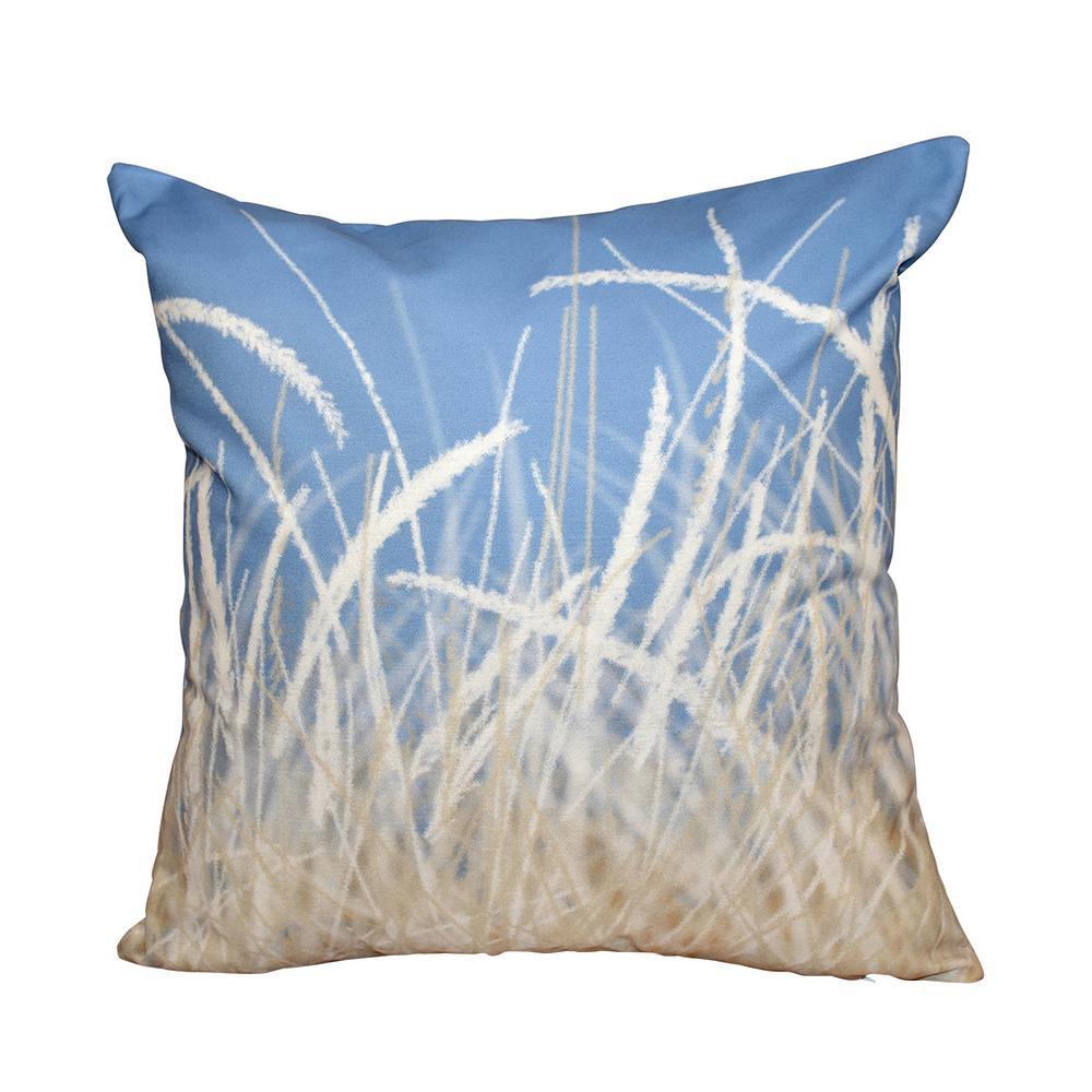 Blue Sea Grass 1 Floral Print Throw Pillow