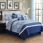 MHF Home Savannah 7-Piece Blue Patchwork California King Comforter Set