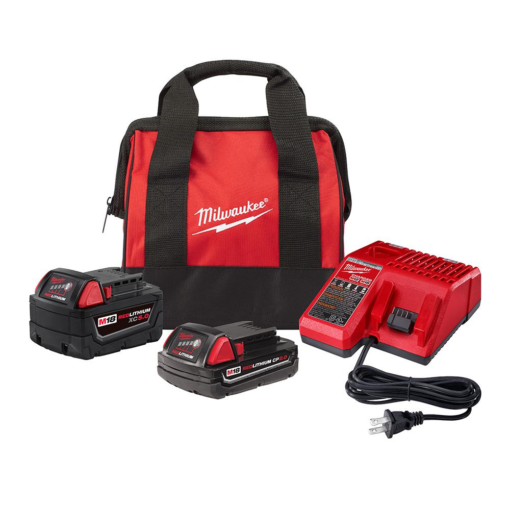 Milwaukee M18 18-Volt Lithium-Ion Starter Kit with One 5.0 Ah and One 2.0 Ah Battery and Charger