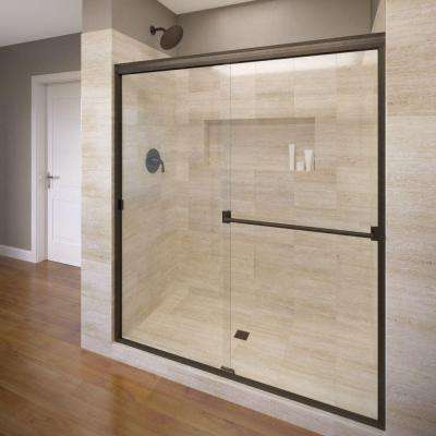 Classic 60 in. x 70 in. Semi-Frameless Sliding Shower Door in Oil Rubbed Bronze with Clear Glass