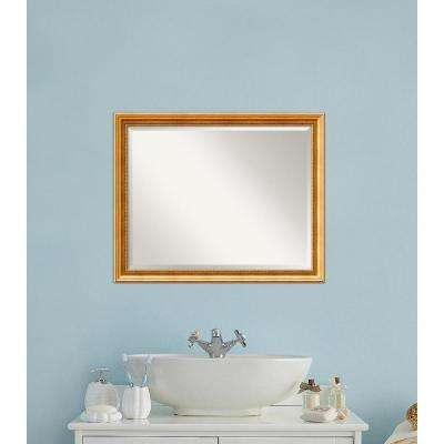 Townhouse Gold Wood 31 in. W x 25 in. H Traditional Bathroom Vanity Mirror