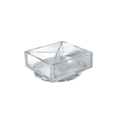 Clear Desktop Collection 6 in. Square 4-Compartment Revolving Crystal Styrene Desk Organizer (2-Pack )