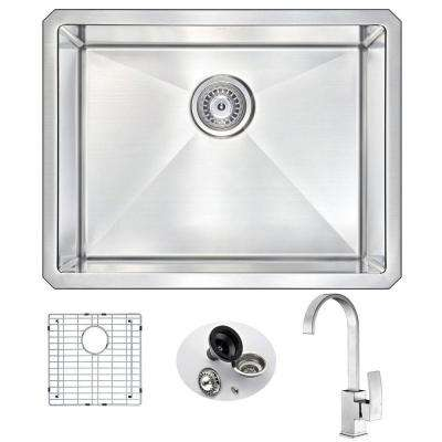 VANGUARD Undermount Stainless Steel 23 in. Single Bowl Kitchen Sink and Faucet Set with Opus Faucet in Brushed Nickel