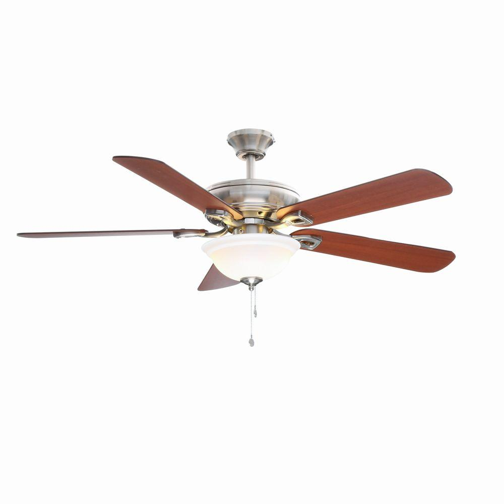 Hampton bay rothley 52 in indoor brushed nickel ceiling fan with hampton bay rothley 52 in indoor brushed nickel ceiling fan with light kit 51563 the home depot mozeypictures Image collections